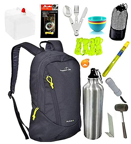 Camping Survival Kit 13 Piece Basic Essentials in FreedomTrail Active 10l Daysack