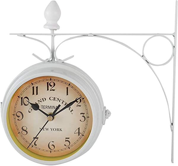 AUNMAS Retro Wall Clocks Double Side Hanging Clock Metal Iron Mute Clock Living Room Bracket Clock Desktop Home Decoration