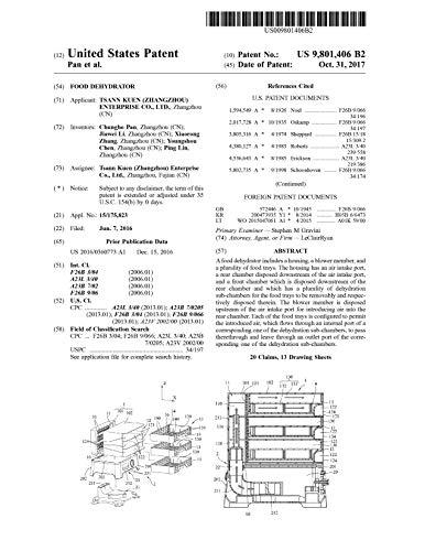 Food dehydrator: United States Patent 9801406 (English Edition)