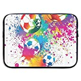 SWAKOJIJI Colored Splashes All Over The Soccer 13/15 Inch Laptop Sleeve Bag for MacBook Air 11 13 15 Pro 13.3 15.4 Portable Zipper Laptop Bag Tablet Bag,Diving Fabric,Waterproof Black