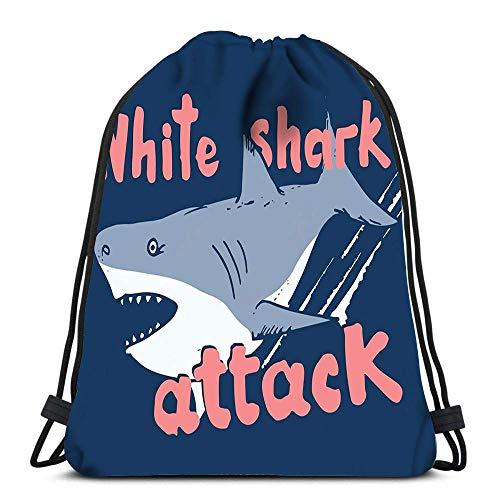 Lmtt Drawstring Bags Backpack Sketch White Shark Attack Travel Backpacks Tote School Rucksack