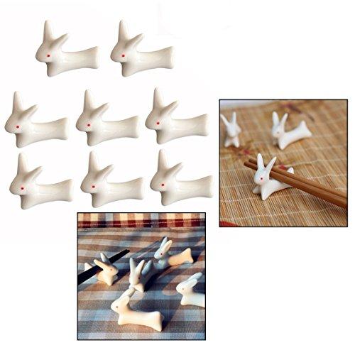 OFKPO 8pcs Supporti Poggia Bacchette, in Ceramica, Creative Cute Rabbit Bacchette Holder Supporto Forchetta, Coltello e Cucchiaio da Cucina Gadget