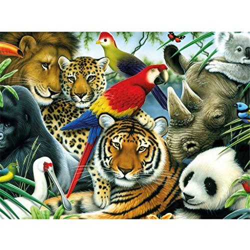 5D Diamond Painting, veyikdg Cross Stitch Bunny Mots Cochon Cheval Ferme Poulet Tigre Lion brioches Oiseau rhinocéros Panda Perroquet Canard Papillon Broderie DIY Peintures Déco 30 * 40cm (B)
