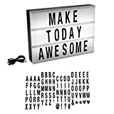 LED Cinematic Light Decorative Box Sign with Interchangeable Black Letters and Symbols- A4 Size Marquee with USB Cable (85 Piece) By Lavish Home