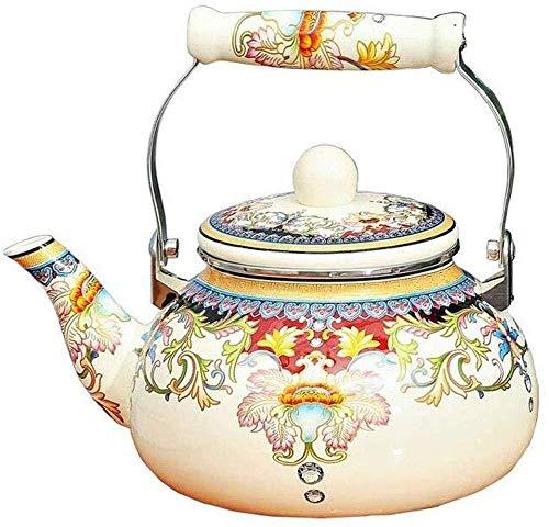 Yruog tetera Tetera de cerámica Tetera de esmalte Tetera - Esmalte sobre acero Tetera Floral Porcelana grande Tetera esmaltada Tetera de agua caliente colorida Tetera para 4L