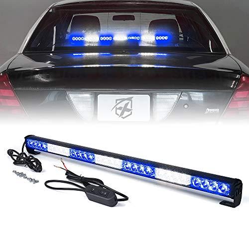 Xprite 31.5 Inch 28 LED Strobe Emergency Traffic Advisor Warning Light Bar w/ 13 Flashing Patterns for Firefighter Vehicles Trucks Cars - Amber & Blue
