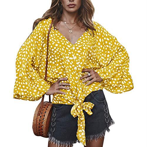 Herbst Polka Dot V-Ausschnitt Blumendruck Loose Cardigan Damen Top T-Shirt