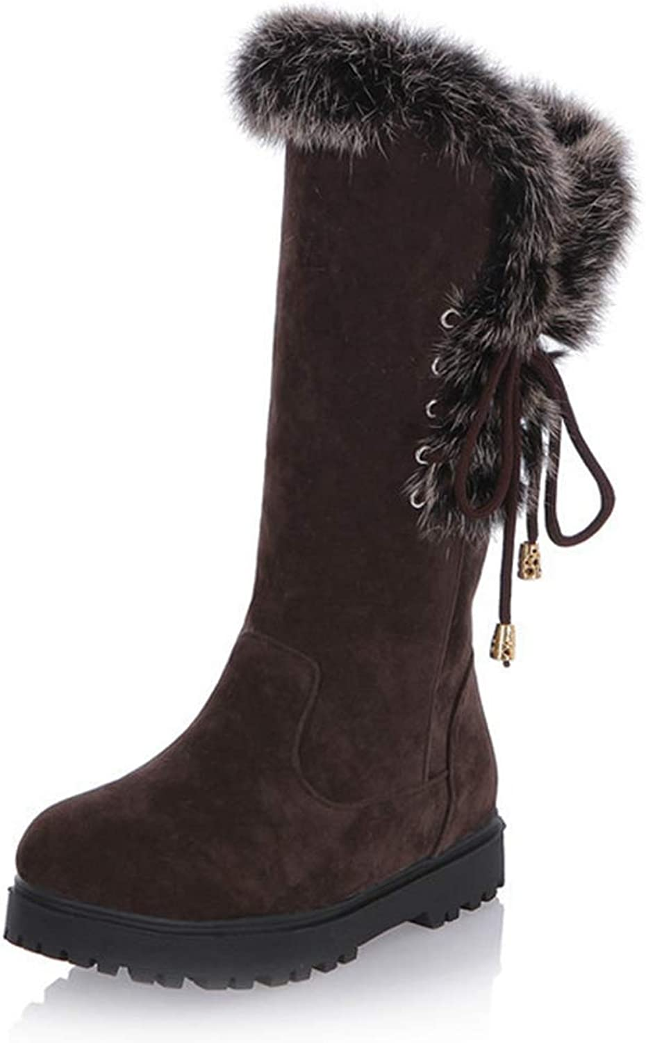 CYBLING Women's Winter Mid Calf Boots Round Toe Suede Low Heel Faux Fur Warm Ankle Snow Booties