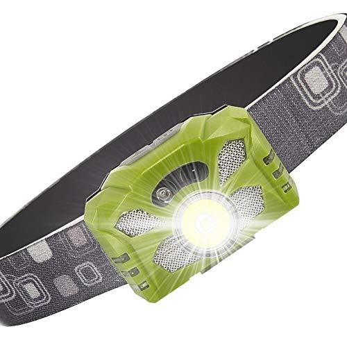 DIRIGIÓ Linterna de la Linterna incorporada Batería Recargable incorporada Faro de la luz de la luz de la luz Camping 5 de la iluminación Lámpara Funcional 800lm (Body Color : Green)