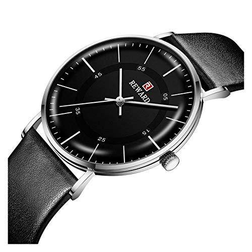 JCCOZ-URG Recompensar Ultra Delgado Reloj de los Hombres de Moda Casual Reloj de Cuarzo de Cuero Impermeable del Reloj Reloj de Negocios Hombre Azul URG (Color : C3)