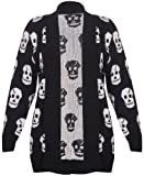 Womens New Skull Printed Ladies Long Sleeves Knitted Ribbed Edge Trim Front Open Cardigan Top...
