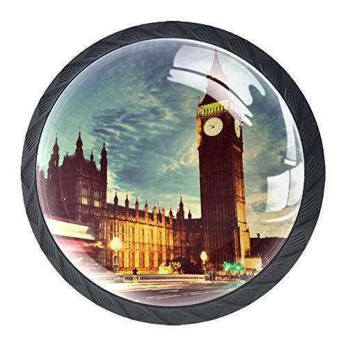 Z&Q Big Ben de Londres Juego de 4 tiradores modern de Base de Plastico & Cristal, con distintos diseños, ideales para puertas, armarios, cajones y cómodas 35mm