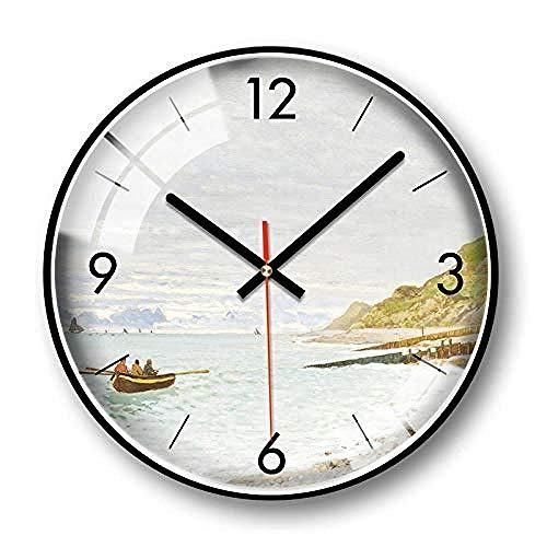 Reloj de pared de barrido silencioso Reloj de pared decorativo de paisaje Reloj de metal redondo de barrido silencioso 14 pulgadas_A Reloj de pared redondo,A_14 pulgadas,Reloj de pared silencioso,Relo