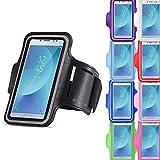 Jogging Tasche Handy Hülle passend für Samsung Galaxy J7 2017 Duos Sportarmband Fitnesstasche, Farben:Schwarz