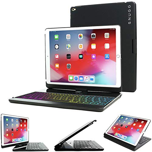 Snugg iPad Mini 5 / iPad Mini 4 Keyboard [Black] Backlit Wireless Bluetooth Keyboard Case Cover 360° degree Rotatable Keyboard for Apple iPad Mini 5