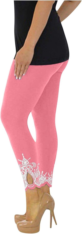 WOCACHI Sport Yoga Sweatpants for Women Lace Trim Cut Out Plus Size Workout Jogger Pants Mid Waist Running Fit Pants