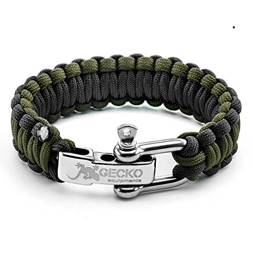 GECKO EQUIPMENT Army Green/Black King Cobra Paracord Survival Bracelet with Adjustable Stainless Steel D Shackle - Suitable for 7'-8' Wrists (Army Green Black/Steel D Shackle)