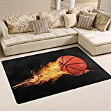 Linomo Area Rug Fire Basketball Ball Floor Rugs Doormat Living Room Home Decor, Carpets Area Mats for Kids Boys Girls Bedroom 31 x 20 Inches