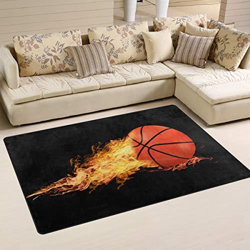 Linomo Alfombra de área de baloncesto para el suelo, tapete para sala de estar, decoración del hogar, alfombras, tapetes de área para niños y niñas, dormitorio de 31 x 20 pulgadas, materiales sintéticos, multicolor, 31 x 20 inches
