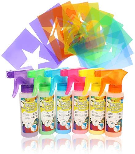COM-FOUR® 6x Sprühkreide in bunten Farben mit Schablonen - Kreidemarker zum Malen & Beschriften - Straßenkreide für Kinder - abwaschbar