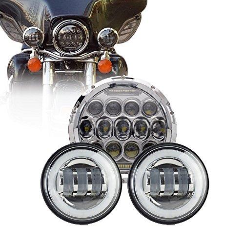 Lot de 3 phares antibrouillard à LED de 75 W de 17,8 cm avec anneau blanc Angel Eyes pour moto