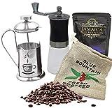 Kaffee Geschenk-Set mit 50 g edlem Raritäten-Kaffee 'Jamaica Blue Mountain' Ganze Bohnen, Kaffeesäckchen, Glas-Keramik-Kaffeemühle und Stempelkanne für Genießer im blauen Geschenkkarton