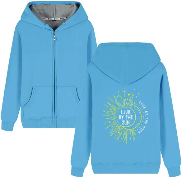 Gjhjhgeow Outerwear Live by The Sun Love by The Moon Letter Printing Pullover Men (Color : A01, Size : Large)