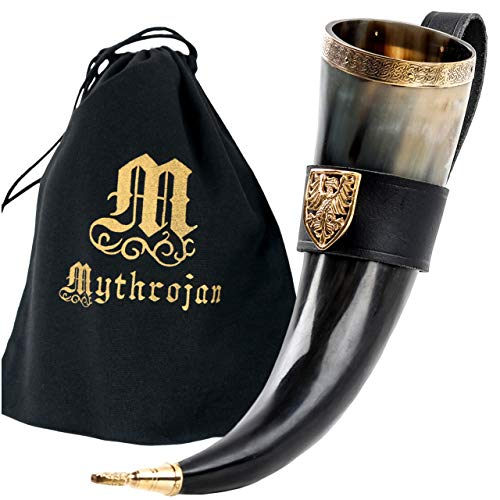 Mythrojan THE TOURNAMENT CHAMPION - Viking Drinking Horn with Black Leather holder Authentic Medieval Inspired Viking Wine/Mead Mug – Polished Finish
