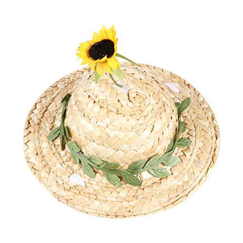 Balacoo Dog Cat Sombrero Hat Mini Mexican Straw Hats Sunflower Cat Sun Hat Pets Birthday Hats Pet Headdress for Pet Supplies Photo Prop Size Xs