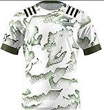 HBRE 2021 Nouvelle-Zélande Rugby Maillot,Haute Terre Gens Fans Rugby Jersey,Maillot de Sport Respirant Occasionnel,T-Shirt De Rugby À Séchage Rapide À Manches Courtes,White,XXL