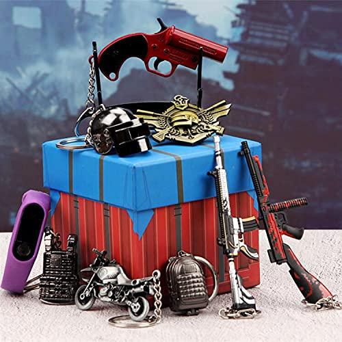 GUOZX Llavero de Metal Creativo Mini Pistola de Metal Llavero Colgante Conjunto Equipo Caja de airdrop Pulsera de Piel Llavero de Coche Bolso Femenino cinturón Colgante Regalo Purple