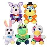 5Pcs 18 / 25Cm Juguetes Blandos Freddy Plush Doll, Vannie Montgomery Gator Roxanne Wolf Glamrock Freddy Chica Stuffed Stuffed Animals Regalo para Niños