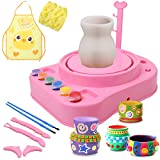 IAMGlobal Pottery Wheel, Pottery Studio with Apron, Artist Studio with Stickers, Ceramic Machine with Clay, Educational Toy for Kids Beginners (Pink)