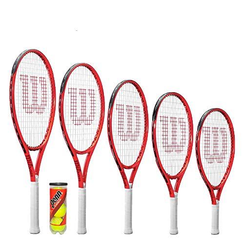 """Wilson Federer Junior Raqueta de Tenis, Funda Protectora y Pelotas de Tenis (19 """", 21"""", 23 """", 25"""" y 26 """") (26"""" + Balls)"""