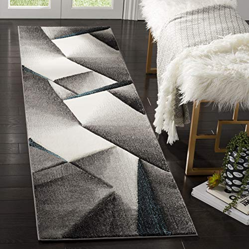 Safavieh Hollywood Collection HLW713G Grey and Dark Grey Mid-Century Modern Abstract Runner (2'2″ x 8′)