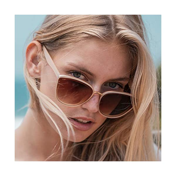 WearMe Pro – Classic Women Oversized Metal Frame Elegant Mirrored Lens Cat Eye Sunglasses
