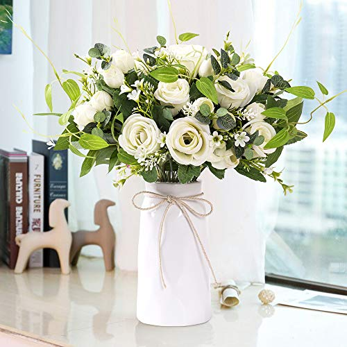 YUYAO Decorations Artificial Flowers Rose Bouquets with Vase Fake Silk Flower with Ceramic Vase Modern Bridal Flowers for Wedding Home Table Office Party Patio Decoration (White)
