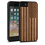 JUBECO for iPhone se 2/8/7(4.7-inch) Case, Slim Wood Protective Cover Case for iPhone 8/7/6s,Handmade Natural Solid Wood Case, Bamboo Case (us Flag)