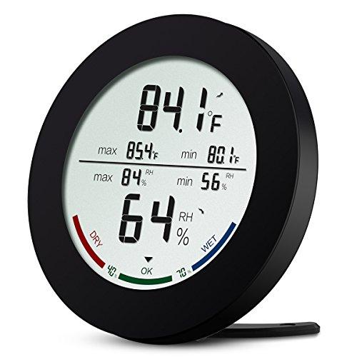 ORIA Wetterstation, kabellos, Innen, Außensensor, Thermometer, Hygrometer, digital, für Haus, Büro, etc. – Weiß