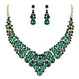 EVER FAITH Parure Gioielli Donna Rhinestone Cristallo Nozze V Forma a Goccia Nuziale Collana Orecchini Set Verde Oro-Fondo