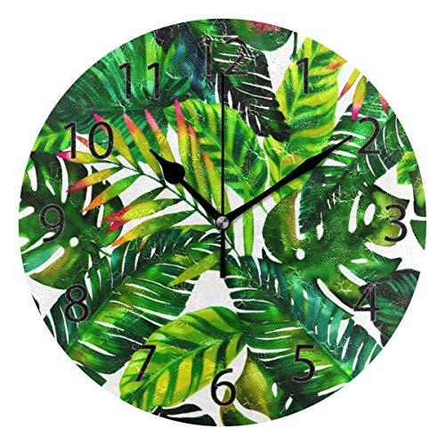 Reloj de pared decorativo para el hogar, oficina, silencioso, de madera, 25,4 cm, para sala de estar, oficina (arte de hojas)