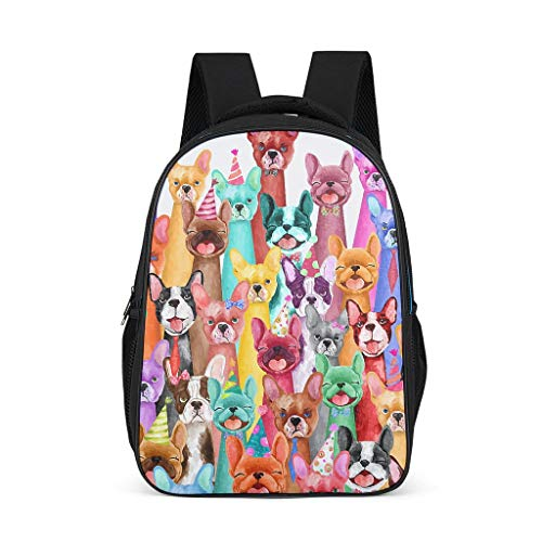 Frenchie Multi Lightweight Backpack For Teens Adults School Bags For Boys and Girls Gifts For Kids Book Bag bright gray onesize