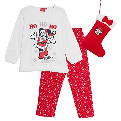 Disney Pijama de Minnie Mouse niñas con Forro Polar y calcetín de Navidad Blanco Blanco 8 años