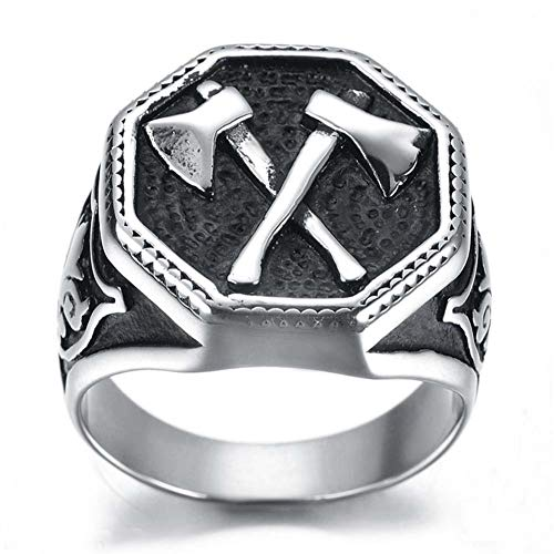 YABEME Viking Battle Axe Ring, Stainless Steel Gothic Celtic Pagan Cool Runic Amulet Iceland Jewelry, with Valknut Gift Bag,14