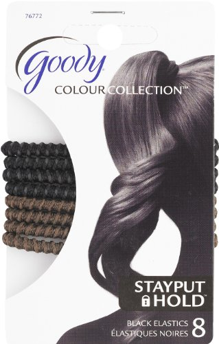Goody Colour Collection Hair Elastic, SPH, Black & Brown, 8 Count (Pack of 3)
