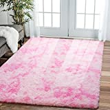 Comeet Super Soft Living Room Rugs for Bedroom Fluffy Area Rugs for Kids Room Abstract Floor Modern Indoor Shaggy Plush Carpets, Home Decor Fuzzy Comfy Nursery Baby Play Accent Mat 5x8 Feet, Pink
