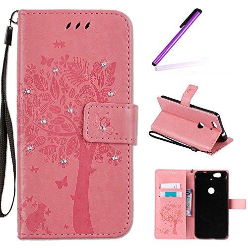 Huawei Nexus 6P Case, Google Nexus 6P Case LEECOCO Embossed Floral Diamonds Wallet Case with Card/Cash Slots Wrist Strap [Kickstand] PU Leather Flip Case Cover for Huawei Nexus 6P Wishing Tree Pink