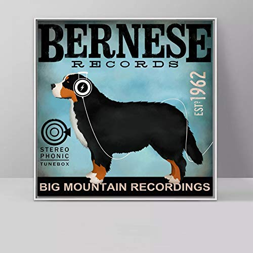 Geiqianjiumai Skateboard Leinwand Malerei Hund Labrador Bulldogge Tier Poster Wandkunst Wohnzimmer Schlafzimmer Kinderzimmer Bild rahmenlose Malerei 70x70cm