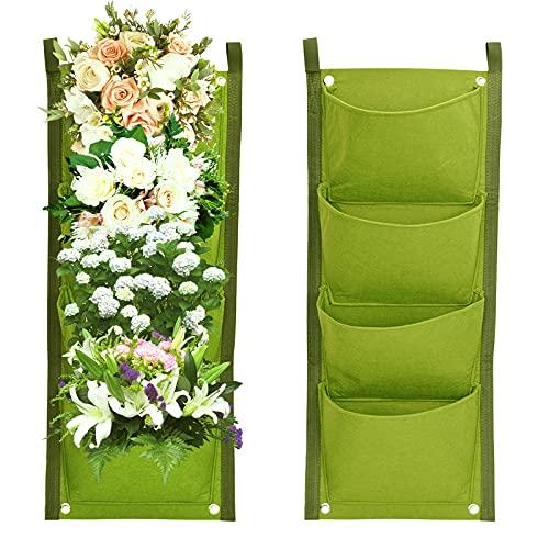 iFCOW 4 Tasche verticali Verdi da appendere a parete, piante da giardino per interni ed esterni a parete Grow Bags fioriera ortaggi Fiori piantare contenitori tasca appesa (Verde 27,6 x 11,8 pollici)