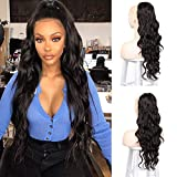 Best Hair Extension Ponytail Real Hairs - Isaic 24 Inch Long Drawstring Ponytail Synthetic Wavy Review